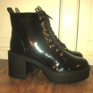 8 Black Patent Lace Up Chunky Cleated Ankle Boot